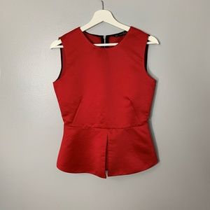 Zara Red Peplum Blouse Sz M Holiday